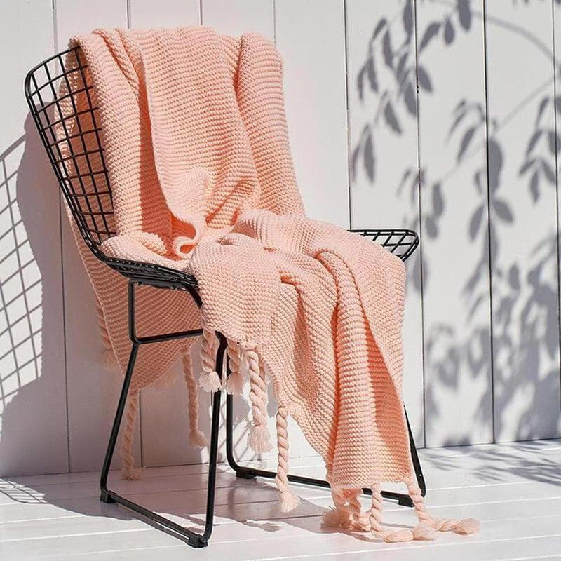 Ava Knitted Tassel Throw (8 Colors Available )-Heart N' Soul Home-Light pink-130x170cm-Heart N' Soul Home