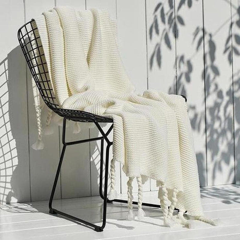 Ava Knitted Tassel Throw (8 Colors Available )-Heart N' Soul Home-White-130x170cm-Heart N' Soul Home