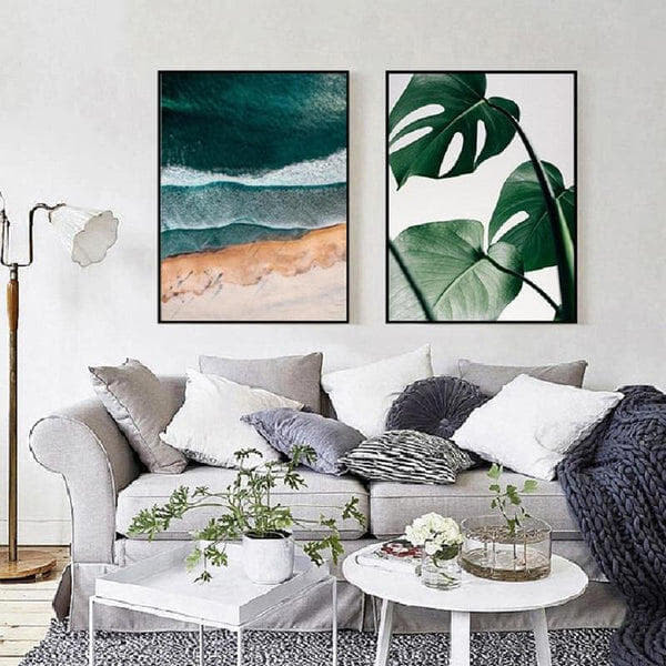 Calm Beach And Monstera Leaves Canvas Painting Prints-Heart N' Soul Home-Heart N' Soul Home