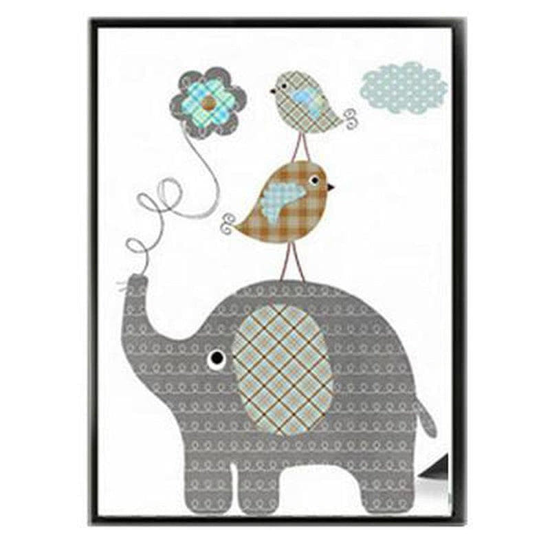 Cartoon Giraffe Rabbit Elephant Animal Kids Wall Art Canvas Painting Prints-HeartnSoulHome-10x15 cm no frame-Elephant bird-Heart N' Soul Home