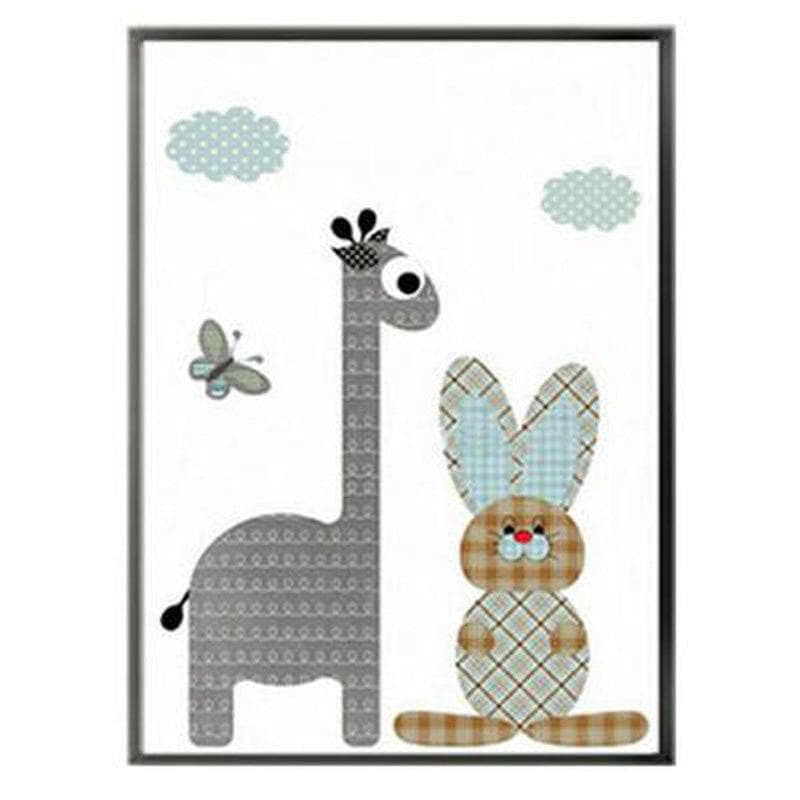 Cartoon Giraffe Rabbit Elephant Animal Kids Wall Art Canvas Painting Prints-HeartnSoulHome-10x15 cm no frame-Giraffe rabbit-Heart N' Soul Home