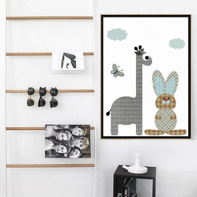 Cartoon Giraffe Rabbit Elephant Animal Kids Wall Art Canvas Painting Prints-HeartnSoulHome-Heart N' Soul Home