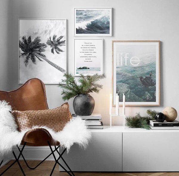 Coconut Palm Tree, Life Quotes And Ocean Canvas Prints-Heart N' Soul Home-Heart N' Soul Home