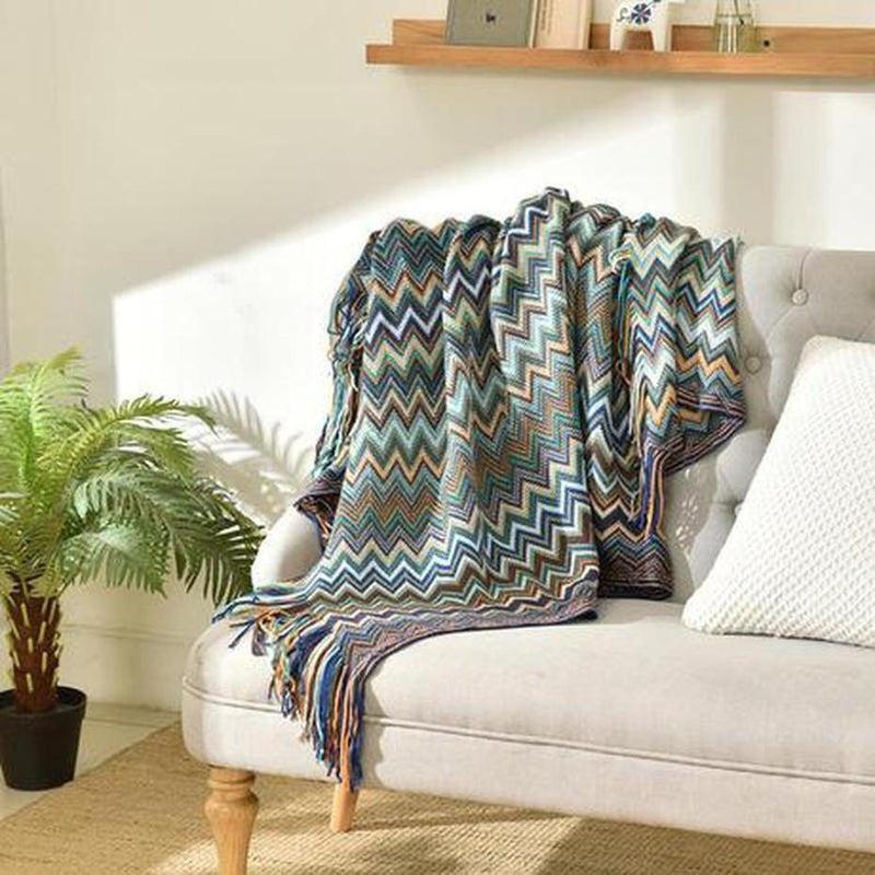 Colorful Bohemian Knitted Throw-Heart N' Soul Home-Heart N' Soul Home