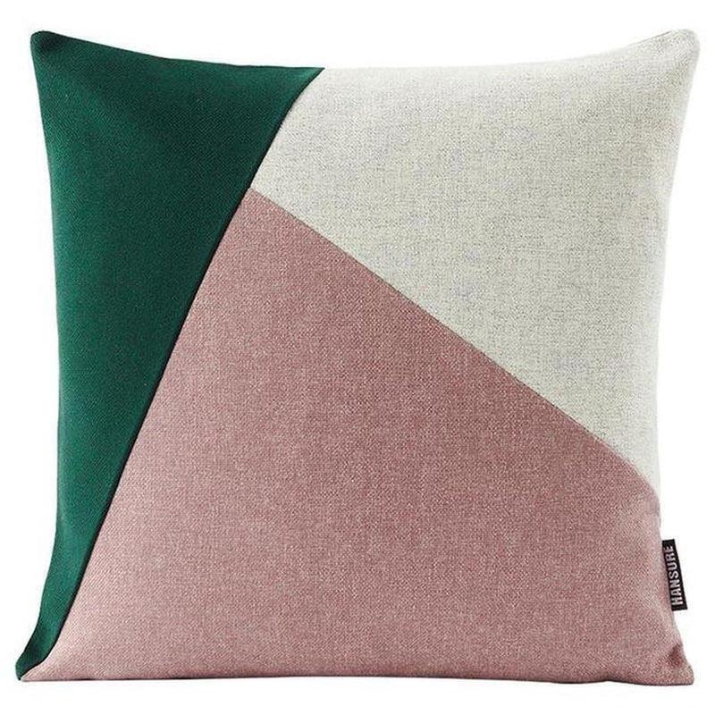 Colourful Edith Cushion Cover-Heart N' Soul Home-Dark green + beige + pink-45*45cm-Heart N' Soul Home