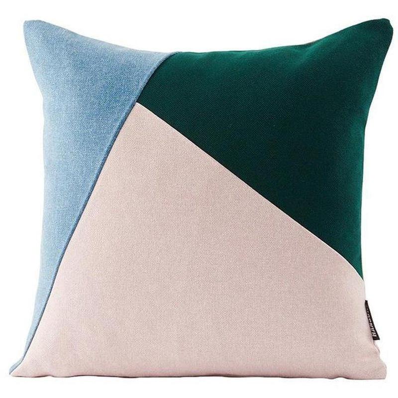 Colourful Edith Cushion Cover-Heart N' Soul Home-Light blue + dark green + soft pink-45*45cm-Heart N' Soul Home