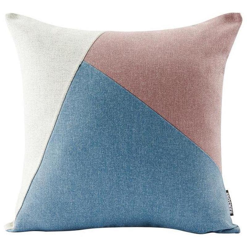 Colourful Edith Cushion Cover-Heart N' Soul Home-Pink + light blue + beige-45*45cm-Heart N' Soul Home