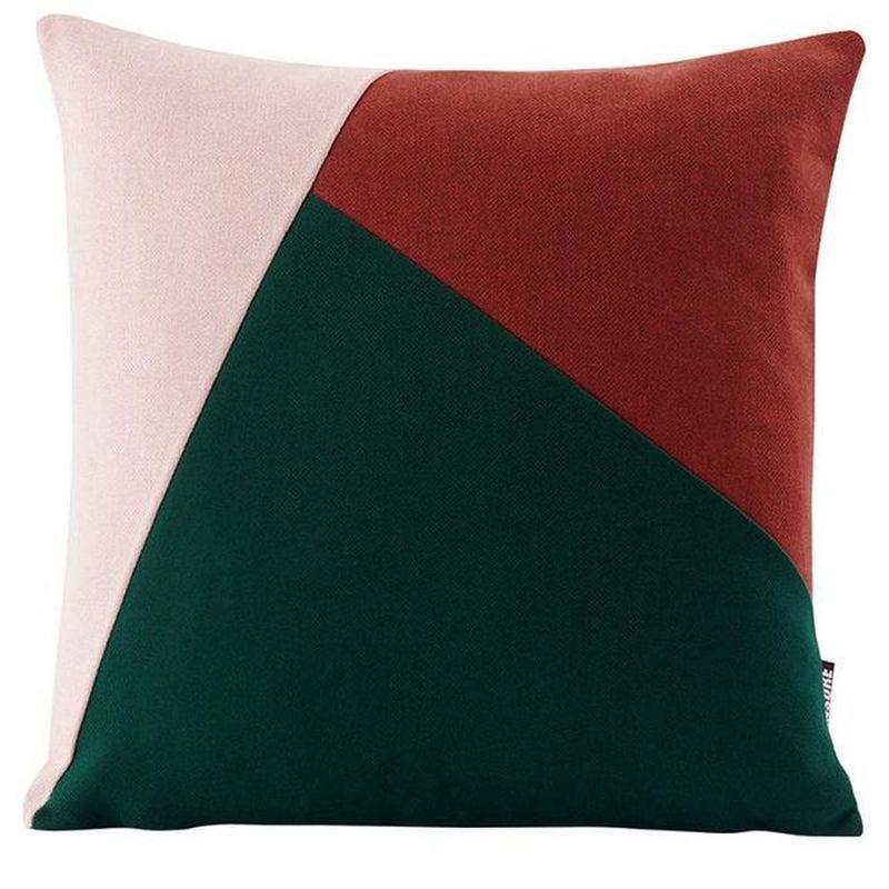Colourful Edith Cushion Cover-Heart N' Soul Home-Soft pink + wine red + dark green-45*45cm-Heart N' Soul Home