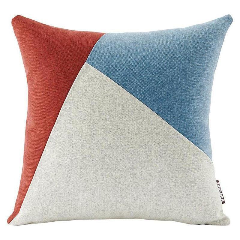 Colourful Edith Cushion Cover-Heart N' Soul Home-Wine red + light blue + beige-45*45cm-Heart N' Soul Home