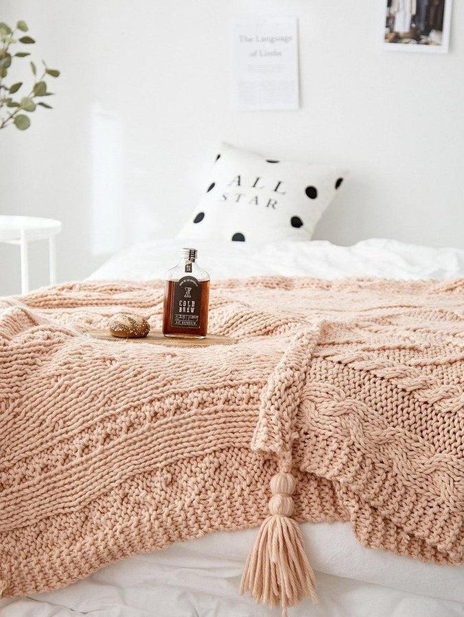 Cora Handmade Thick Tassel Throw-Heart N' Soul Home-Pink-130*160-Heart N' Soul Home