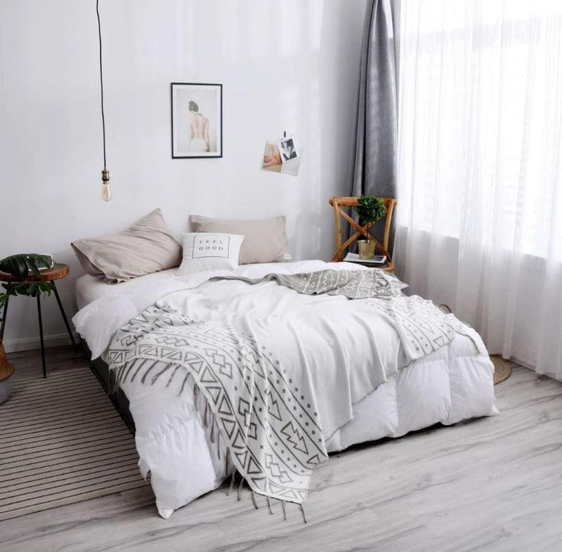 Double Side Jacquard Tribal Pattern Cotton Throw Grey-Heart N' Soul Home-light grey-130*180cm-Heart N' Soul Home