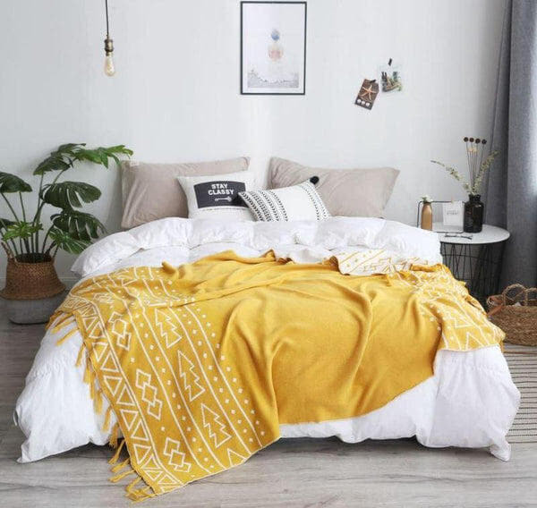 Double Side Jacquard Tribal Pattern Cotton Throw Yellow-Heart N' Soul Home-Ginger Yellow-130*180cm-Heart N' Soul Home