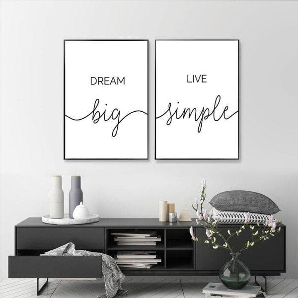 Dream Big Live Simple Life Quote Canvas Painting Prints-Heart N' Soul Home-Heart N' Soul Home