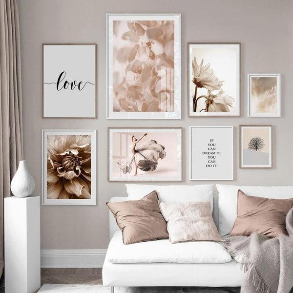 Flowers And Ballerina Canvas Prints-Heart N' Soul Home-Heart N' Soul Home