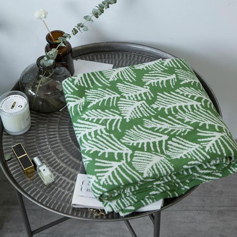 Forest Print Knitted Cotton Throw (3 Colors Available)-Heart N' Soul Home-Heart N' Soul Home