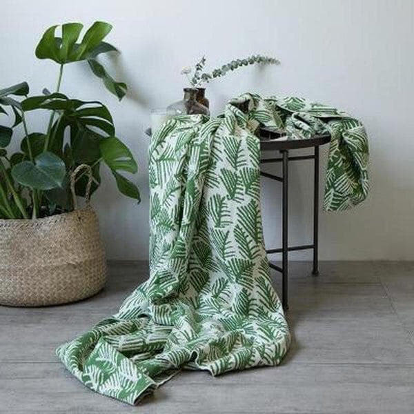 Forest Print Knitted Cotton Throw (3 Colors Available)-Heart N' Soul Home-Green-130x180CM-Heart N' Soul Home