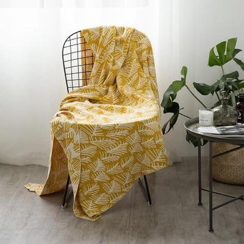 Forest Print Knitted Cotton Throw (3 Colors Available)-Heart N' Soul Home-Yellow-130x180CM-Heart N' Soul Home