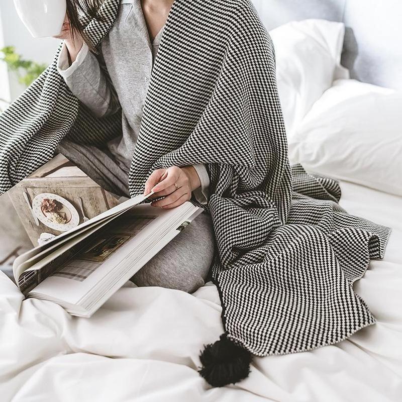 Geometric Black Stripe Knitted Cotton Throws-Heart N' Soul Home-Heart N' Soul Home