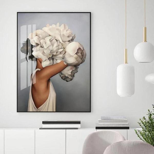 Girl Embraces Flowers Canvas Print-Heart N' Soul Home-Heart N' Soul Home