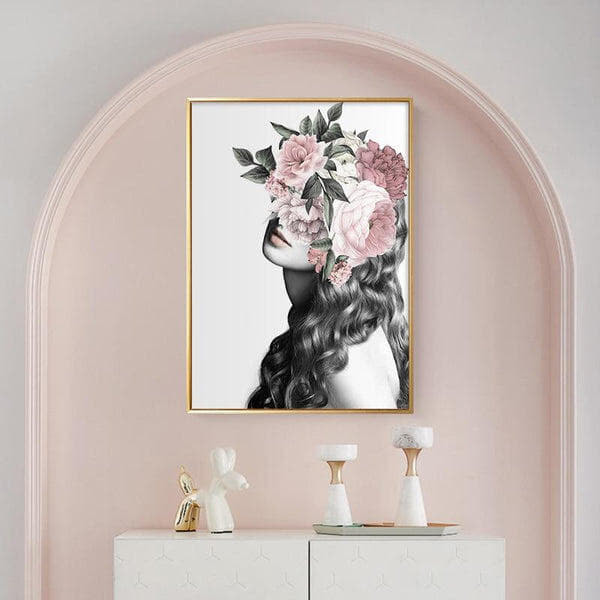 Girl In Peony Flower Wreath Canvas Painting Prints-Heart N' Soul Home-50x70cm No frame-Heart N' Soul Home