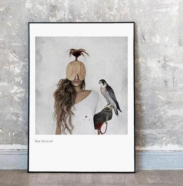 Girl With Eagle Modern Art Canvas Painting Prints-Heart N' Soul Home-Heart N' Soul Home