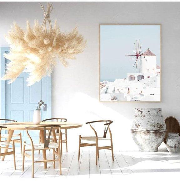 Greek Island White Windmill Canvas Print-Heart N' Soul Home-Heart N' Soul Home