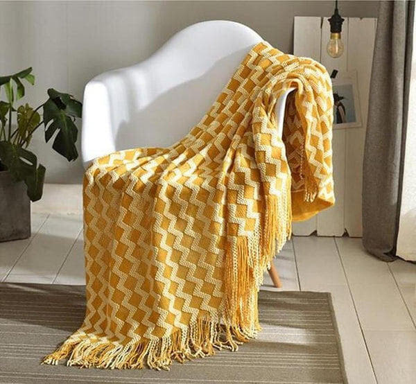 Kyra Wave Line Tassel Throw Mustard-Heart N' Soul Home-Mustard-120*(200+15*2 tassels)cm-Heart N' Soul Home