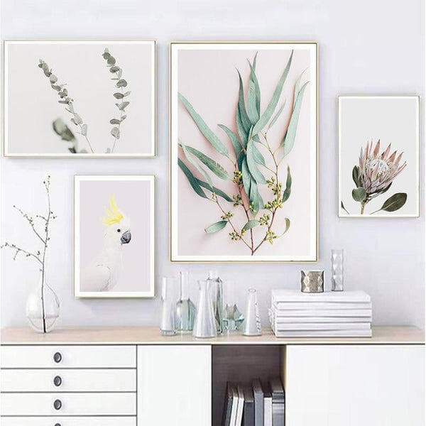 Leaves, Protea And Parrot Canvas Prints-Heart N' Soul Home-Heart N' Soul Home