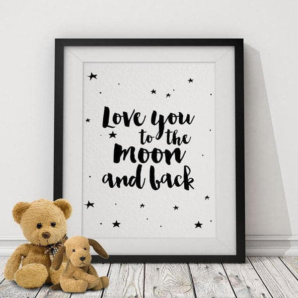 Love You to The Moon and Back Wall Art Canvas Painting Prints-HeartnSoulHome-10x15 cm no frame-Heart N' Soul Home