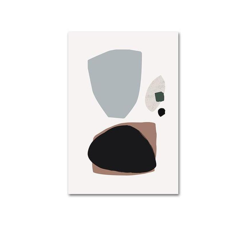 Morandi Nordic Classic Abstract Art Canvas Prints-Heart N' Soul Home-10x15cm no frame-Blue + Black + Brown Abstract Shapes-Heart N' Soul Home
