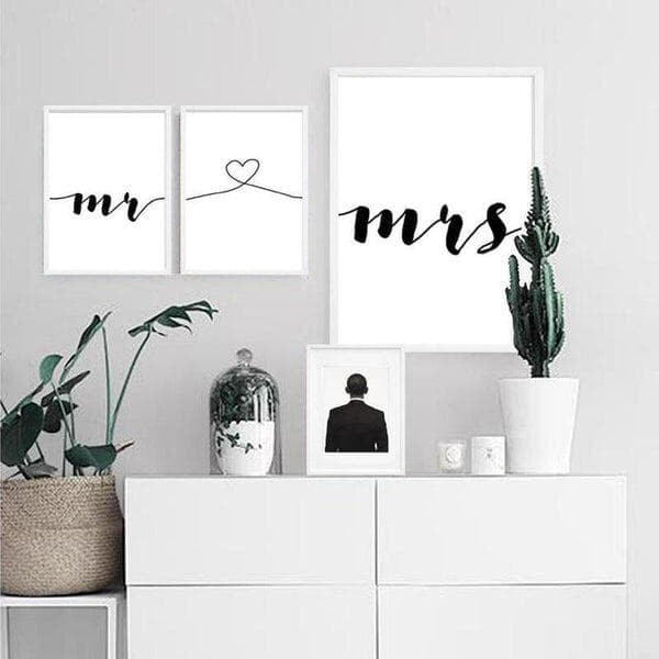 Mr and Mrs With Love Symbol Canvas Print-Heart N' Soul Home-Heart N' Soul Home