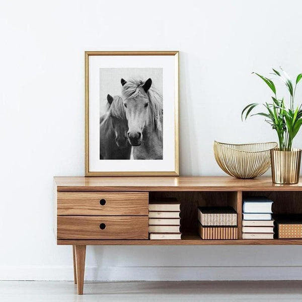 Nordic Black And White Horse Canvas Painting Print-Heart N' Soul Home-10x15 cm no frame-Heart N' Soul Home
