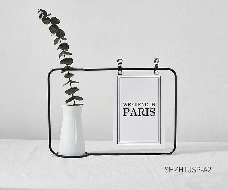 Nordic Creative Vase With Postcard Frame-Heart N' Soul Home-Black Frame + White Vase + Eucalyptus Branch-Heart N' Soul Home