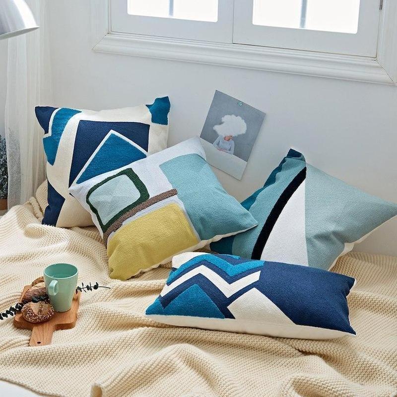 Nordic Geometric Art Embroidered Cushion Cover-Heart N' Soul Home-Heart N' Soul Home