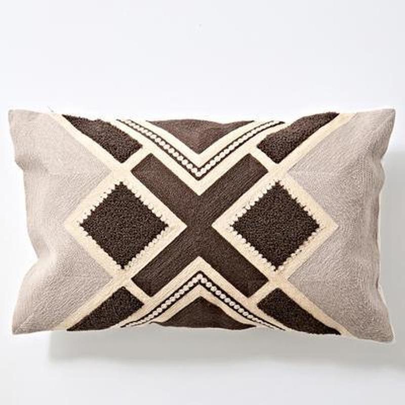 Nordic Geometric Art Embroidered Cushion Cover-Heart N' Soul Home-B 30x60cm-Heart N' Soul Home