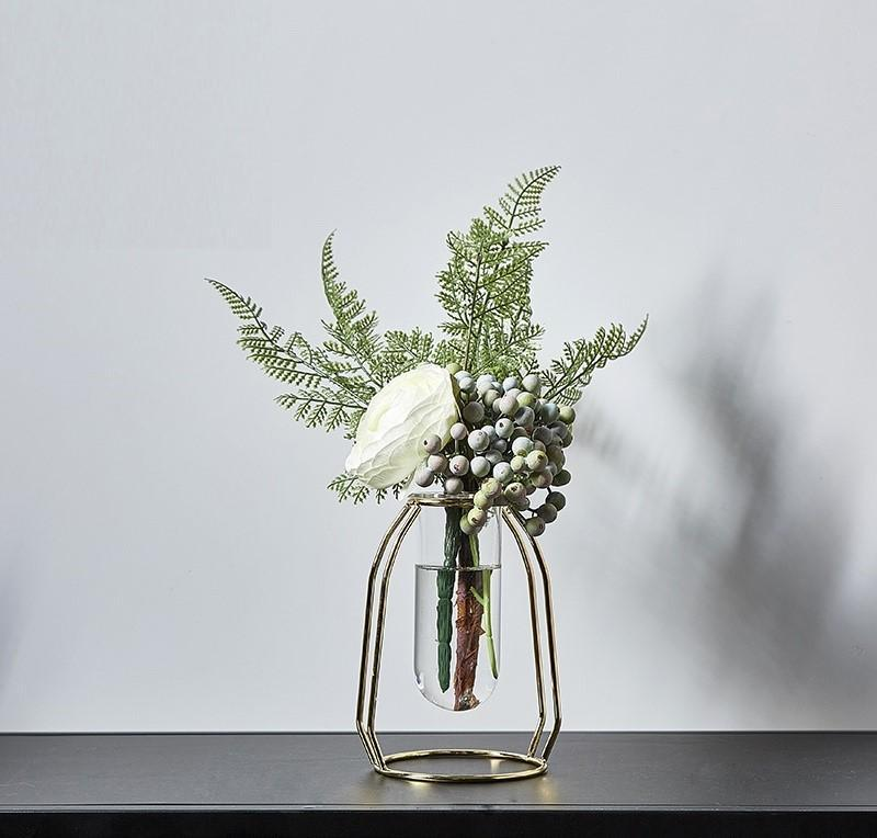 Nordic Metal Vase Flower Set-Heart N' Soul Home-Set 10 SGold + 40cmFlower-Heart N' Soul Home