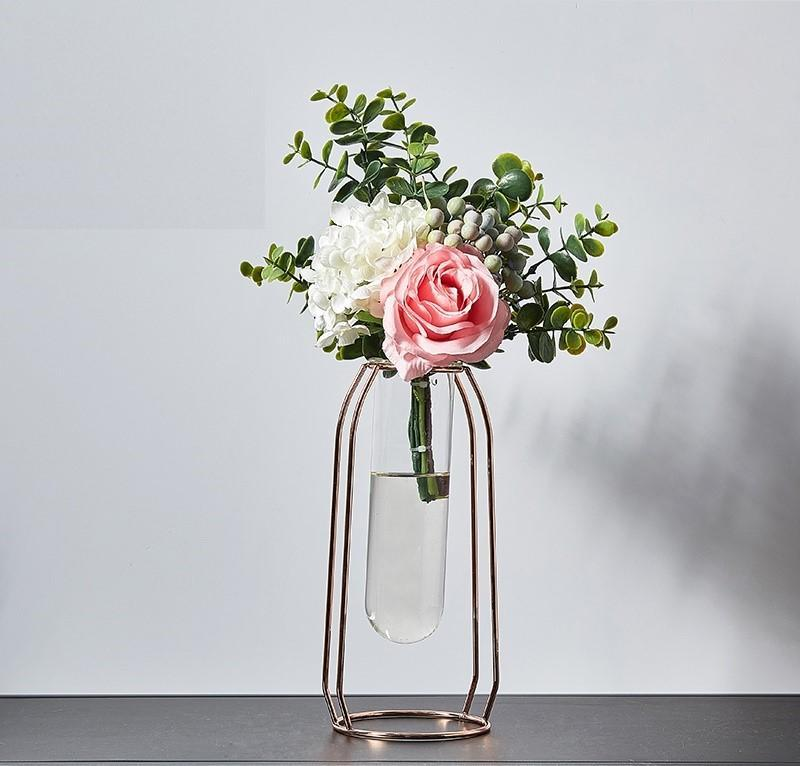 Nordic Metal Vase Flower Set-Heart N' Soul Home-Set 16 LRoseGold + 30cmFlower-Heart N' Soul Home