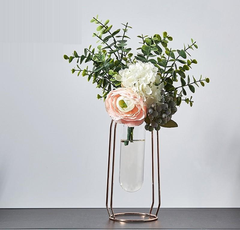 Nordic Metal Vase Flower Set-Heart N' Soul Home-Set 17 LRoseGold + 30cmFlower-Heart N' Soul Home
