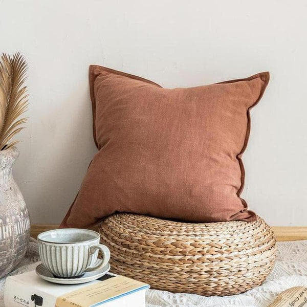 Nordic Simple Solid Color Cotton Linen Cushion Cover Amber-Heart N' Soul Home-45 x 45 cm No Insert-Heart N' Soul Home