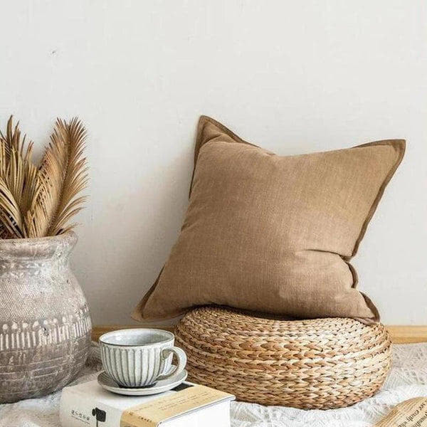 Nordic Simple Solid Color Cotton Linen Cushion Cover Coffee Bean-Heart N' Soul Home-45 x 45 cm No Insert-Heart N' Soul Home