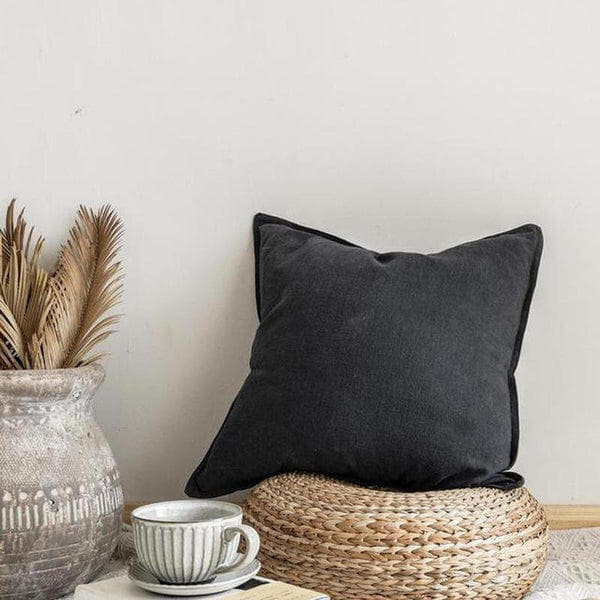 Nordic Simple Solid Color Cotton Linen Cushion Cover Dark Grey-Heart N' Soul Home-45 x 45 cm Dark Grey-Heart N' Soul Home