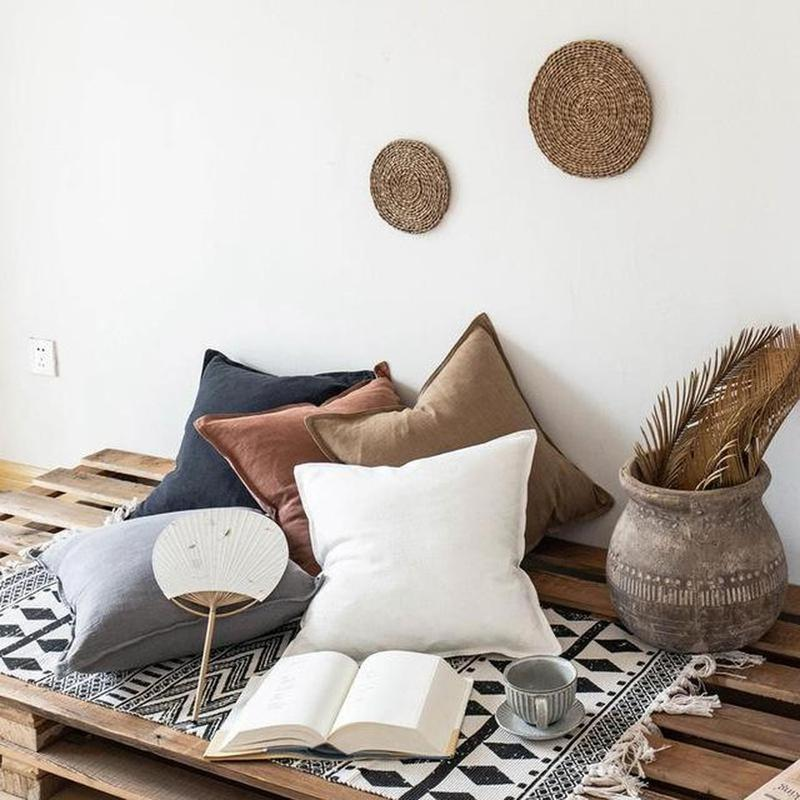 Nordic Simple Solid Color Cotton Linen Cushion Cover Light Grey-Heart N' Soul Home-45 X 45 cm No Insert-Heart N' Soul Home
