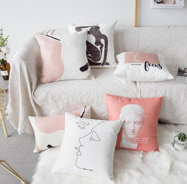 Nordic Vintage Sculpture Abstract Character Cushion-Heart N' Soul Home-Heart N' Soul Home