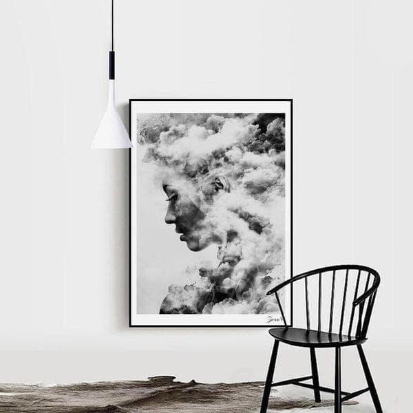 Nordic Woman With Cloud Canvas Painting Print-Heart N' Soul Home-Heart N' Soul Home