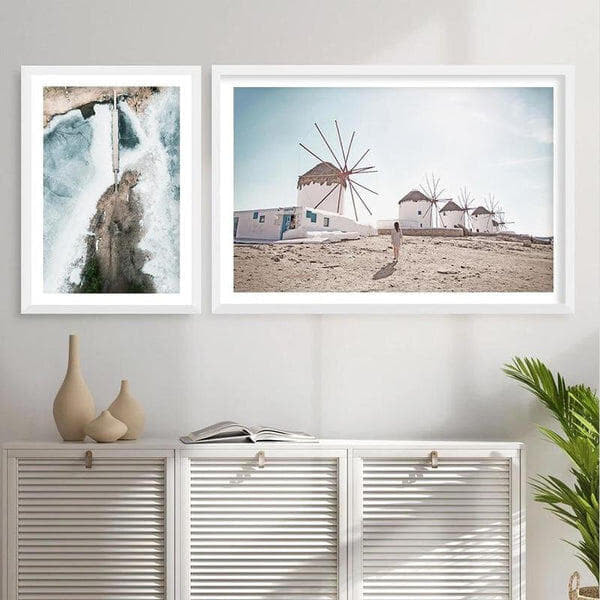 Ocean And Windmills Canvas Prints-Heart N' Soul Home-Heart N' Soul Home