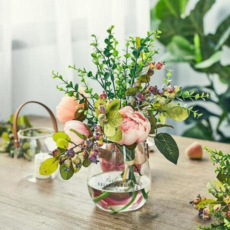 Ornamental Borosilicate Glass Vase With Leather Handle-Heart N' Soul Home-Heart N' Soul Home