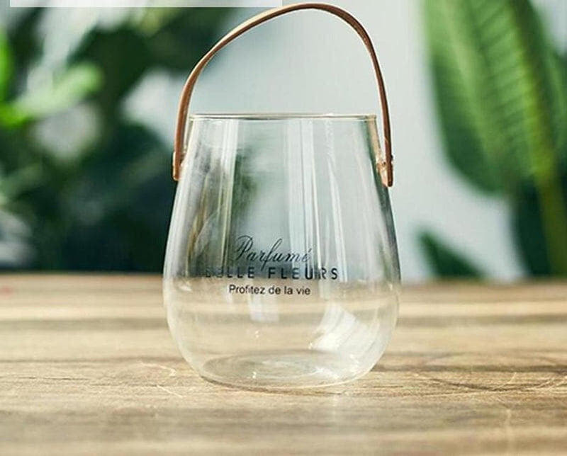 Ornamental Borosilicate Glass Vase With Leather Handle-Heart N' Soul Home-Black letter large vase-Heart N' Soul Home