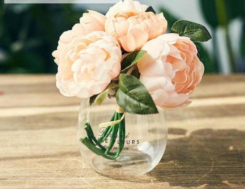 Ornamental Borosilicate Glass Vase With Leather Handle-Heart N' Soul Home-Black letters large vase + peony-Heart N' Soul Home