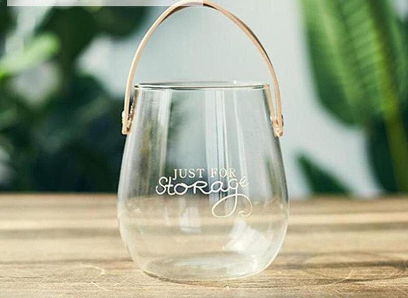 Ornamental Borosilicate Glass Vase With Leather Handle-Heart N' Soul Home-White letter large vase-Heart N' Soul Home