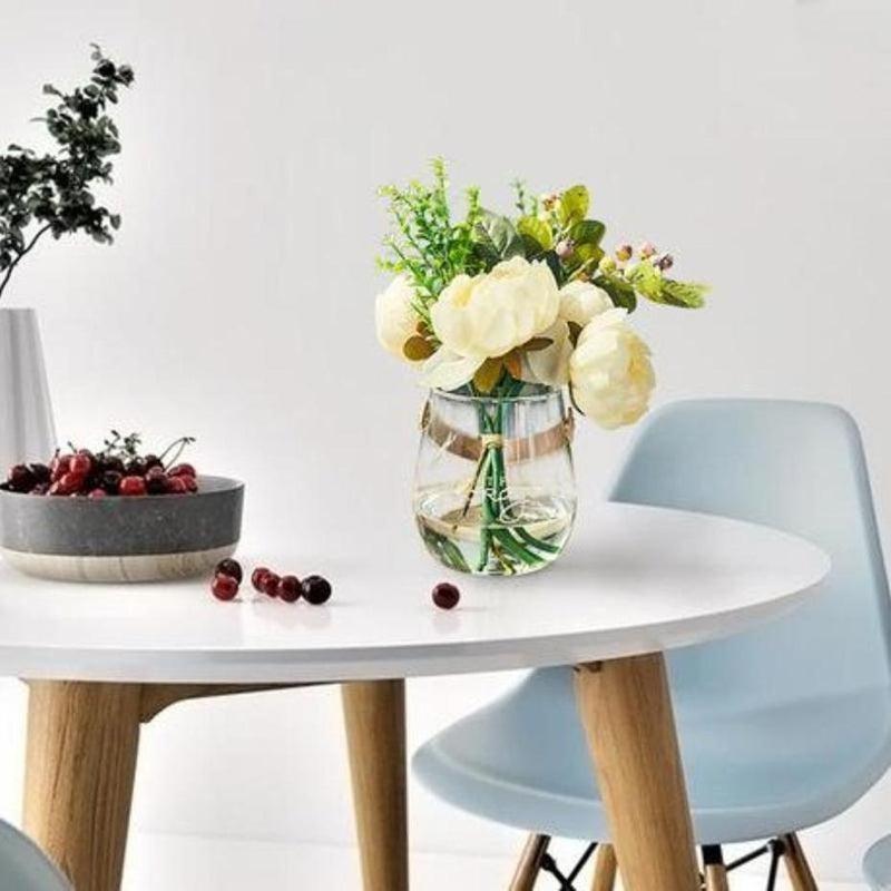 Ornamental Borosilicate Glass Vase With Leather Handle-Heart N' Soul Home-White letter large vase + peony, eucalyptus, pomegranate flower-Heart N' Soul Home